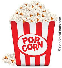 popcorn, gestreift, wanne