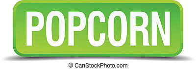 Popcorn green 3d realistic square isolated button
