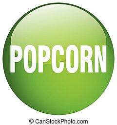 popcorn green round gel isolated push button