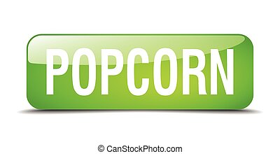 popcorn green square 3d realistic isolated web button