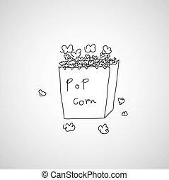 popcorn  hand drawn  cartoon