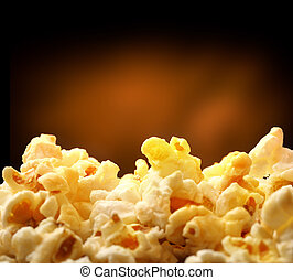 Popcorn heap on black background