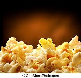 Popcorn heap on black background