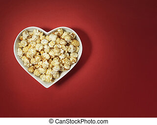 popcorn heart love cinema - Stock Image - shot of cinema...