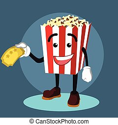 popcorn holding ticket illustration