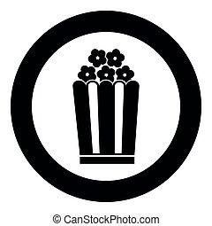 Popcorn icon black color vector illustration simple image