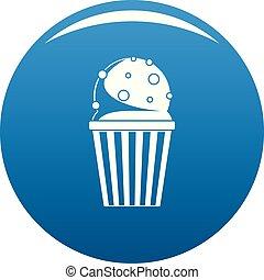 Popcorn icon blue vector