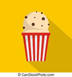 Popcorn icon, flat style