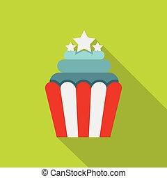 Popcorn icon , flat style