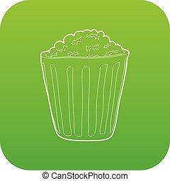 Popcorn icon green vector