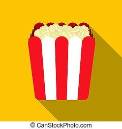 Popcorn icon in flat style isolated on white background. Films and cinema symbol stock vector illustration.