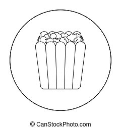 Popcorn icon in outline style isolated on white background. Films and cinema symbol stock vector illustration.