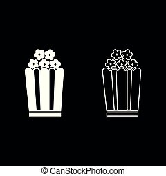Popcorn icon set white color illustration flat style simple image