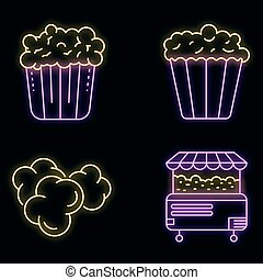 Popcorn icons set vector neon