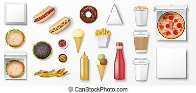 popcorn, illustratie, mockup, mal, vasten, set, pizza, hamburger, vector, bovenzijde, snack, hotdog, donut, room, isolated., aanzicht, aardappel, restaurant, voedingsmiddelen, ketchup, menu., realistisch, ijs, bakken