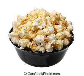 Popcorn in a black cup, isolated
