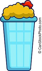 Popcorn in a blue bucket icon, cartoon style