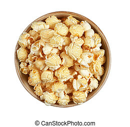 popcorn in a bowl isolated. Top view