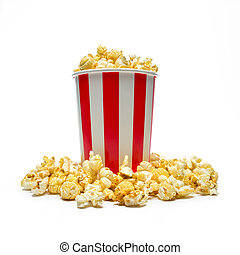 popcorn in a box isolated on white - shot of a striped round...