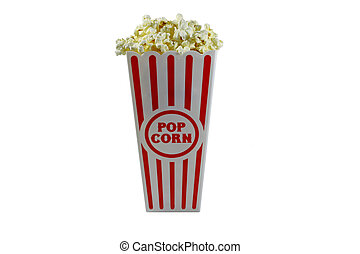 Popcorn in a container ready for the movies or your next project, isolated on white with room for your text.