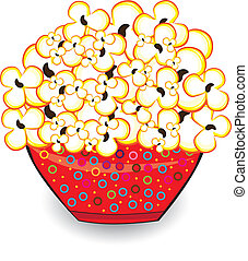 Popcorn in a red bucket. Illustrations on white background...