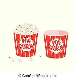 Popcorn in a striped tub on white background