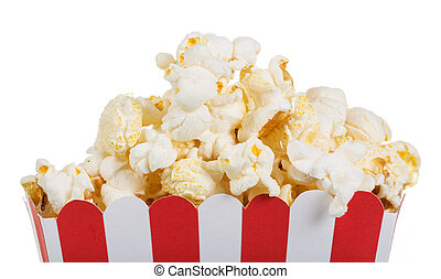 Popcorn in big box close up isolated on white. - Popcorn in...