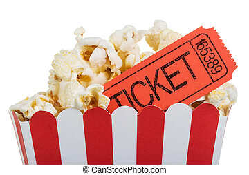 Popcorn in big box with movie tickets, isolated on white. -...