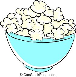 Popcorn in bowl, illustration, vector on white background.