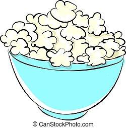 Popcorn in bowl, illustration, vector on white background.