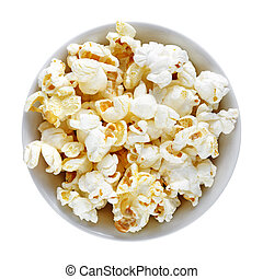 Popcorn in bowl isolated on white background