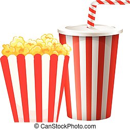 Popcorn in box and cup of drink