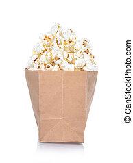 popcorn in box on white background