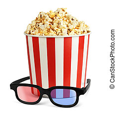 Popcorn in bucket with 3d glasses isolated on white