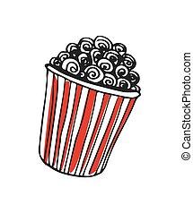 Popcorn in cardboard box hand drawn icon