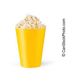 Popcorn in cardboard box on white background