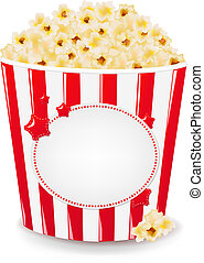 Popcorn In Cardboard Box With Gradient Mesh, Vector...
