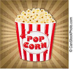 Popcorn In Cardboard Box With Sunburst
