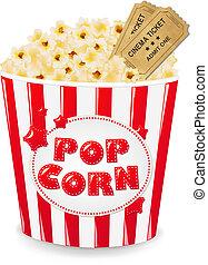 Popcorn In Cardboard Box With Tickets Cinema