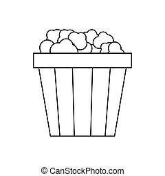 Popcorn in cardboard bucket icon, outline style