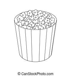 Popcorn in cardboard bucket icon