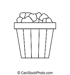 Popcorn in cardboard bucket icon, outline style