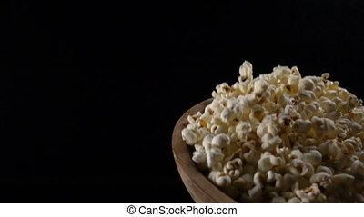 Popcorn in free fall, slow motion