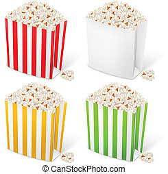 Popcorn in multi-colored striped packages