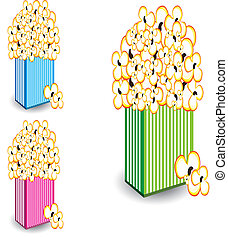 Popcorn in multi-colored striped - Popcorn in a colorful ...