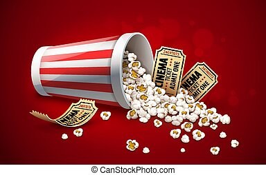 Popcorn in paper bucket. Full cup and gold cinema tickets.