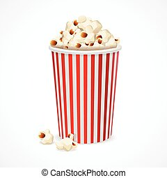 Popcorn in red and white cardboard box for cinema. Vector
