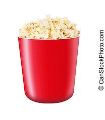 Popcorn in red bucket on white background.
