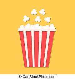 Popcorn in red paper cup. Cinema icon in flat dsign style