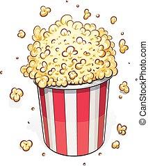 Popcorn in striped basket. Eps10 vector illustration. ...